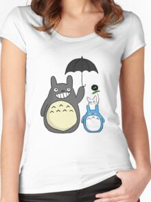 Totoro family Women's Fitted Scoop T-Shirt