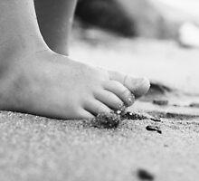 Barefoot on Beach- child's feet on sandy beach by homemadeinchina