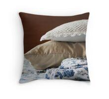 Morning Piles- sheets and pillows Throw Pillow