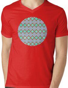 Moroccan Aqua Doodle pattern in mint green, blue & white Mens V-Neck T-Shirt