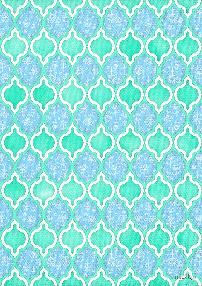 Quot Moroccan Aqua Doodle Pattern In Mint Green Blue Amp White