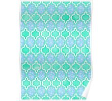 Moroccan Aqua Doodle pattern in mint green, blue & white Poster