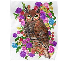 Vintage Owl and Flowers Poster