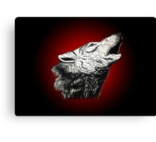 wolf (red outline) Canvas Print