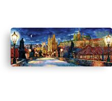Prague Charles bridge at night Canvas Print