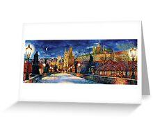 Prague Charles bridge at night Greeting Card