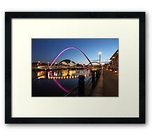 Newcastle-Gateshead, Bridges and Quayside at Dusk Framed Print