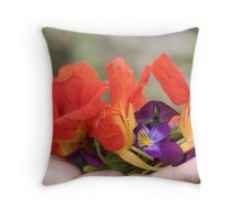 gently held flowers Throw Pillow