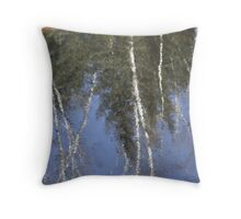 relfection of winter white pines Throw Pillow