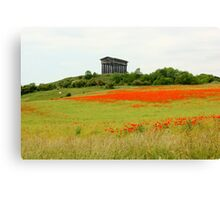 Poppies at Penshaw Monument, County Durham Canvas Print