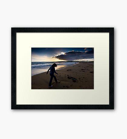 Sunset Walk On Garretstown Beach  Framed Print