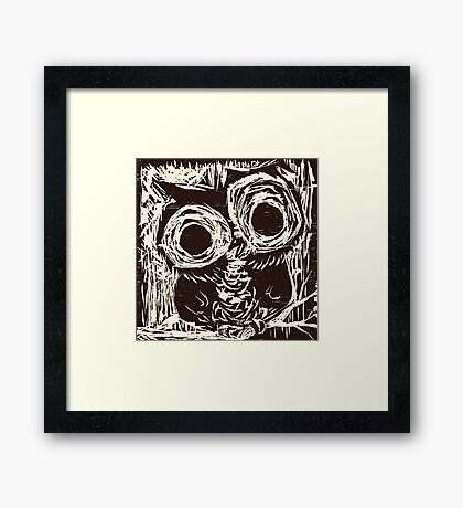 Owl Woodcut Framed Print