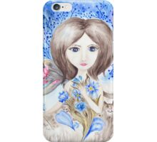 Fairy Girl with Flowers Watercolor Illustration iPhone Case/Skin