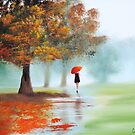 Woman with a red umbrella autumn landscape art poster by gordonbruce