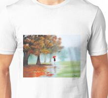 Woman with a red umbrella autumn landscape art poster Unisex T-Shirt