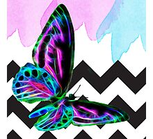 Butterfly Fractal Wire Flame and Watercolor With Shevrons Photographic Print