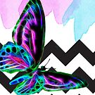 Butterfly Fractal Wire Flame and Watercolor With Shevrons by Moonlake