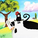 cat in a hat on a cow  by gordonbruce