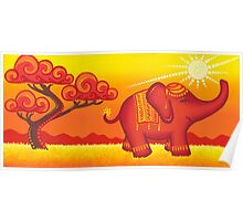 African Elephant at sunset - over 900 viewings! Poster