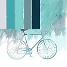 Blue Watercolor Bicycle Design With Stripes And Splodges by Moonlake