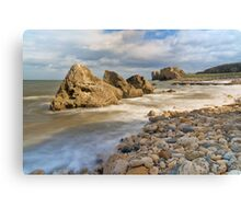 Incoming Tide at Trow Quarry Beach, South Shields, Tyne and Wear Canvas Print