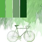 Green Watercolor Bicycle Design With Stripes And Splodges by Moonlake