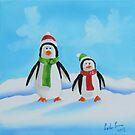 Little penguins wearing scarves by gordonbruce