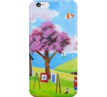 Flying a kite naive landscape art iPhone Case/Skin