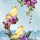Daughter Birthday Card With Canary Birds On A Floral Stand by Moonlake