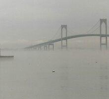 Newport Bridge in fog by muddylilac