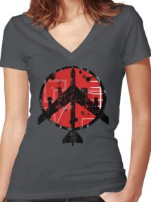 B-52 Peace Symbol Women's Fitted V-Neck T-Shirt