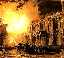The Burning of Elgin Cathedral June 1390 by Dennis Melling