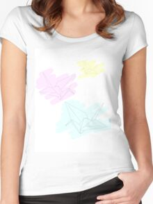 Paper cranes in Pastels Women's Fitted Scoop T-Shirt