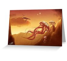 Flight of jellyfishes Greeting Card