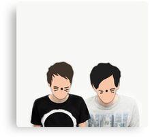 Dan & Phil - Cartoon Faces Canvas Print