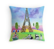 The Eiffel tower made of sheep Throw Pillow