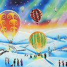 Hot air balloons winter landscape painting by gordonbruce