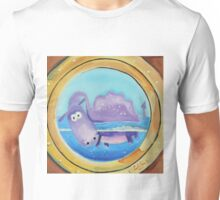 Loch Ness moster looking through a port hole Unisex T-Shirt
