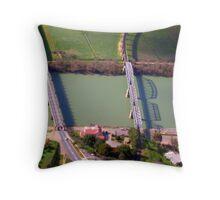 Road and train bridges Throw Pillow