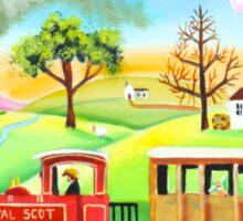 Red steam train naive folk art painting Sticker