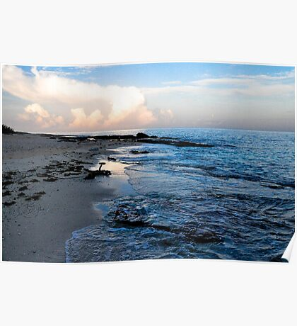 Beach scene at sunset El Cozumeleno Poster
