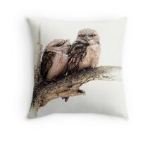 Tawny frogmouths Throw Pillow