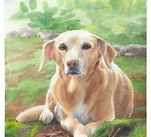 Labrador in a garden watercolor by Mike Theuer