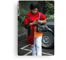 holding mobile phone Canvas Print