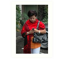 holding mobile phone Art Print
