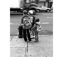 City kids waiting for the bus Photographic Print