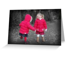 Girls In Red Greeting Card
