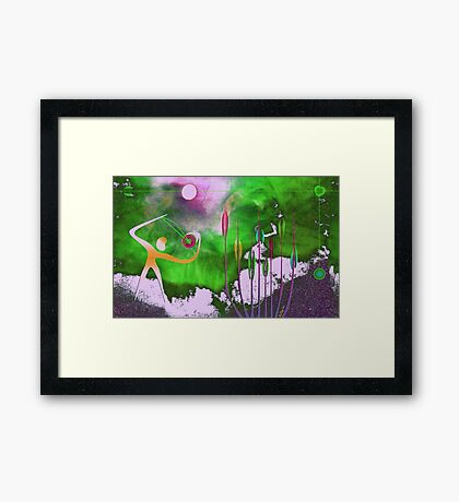 Virtuoso playing spherical violin to save the planet Framed Print