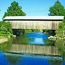 Covered Bridge Reflection by Deborah  Benoit