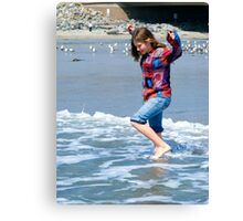 Skipping Along The Water's Edge ~ California Beach Scene Canvas Print